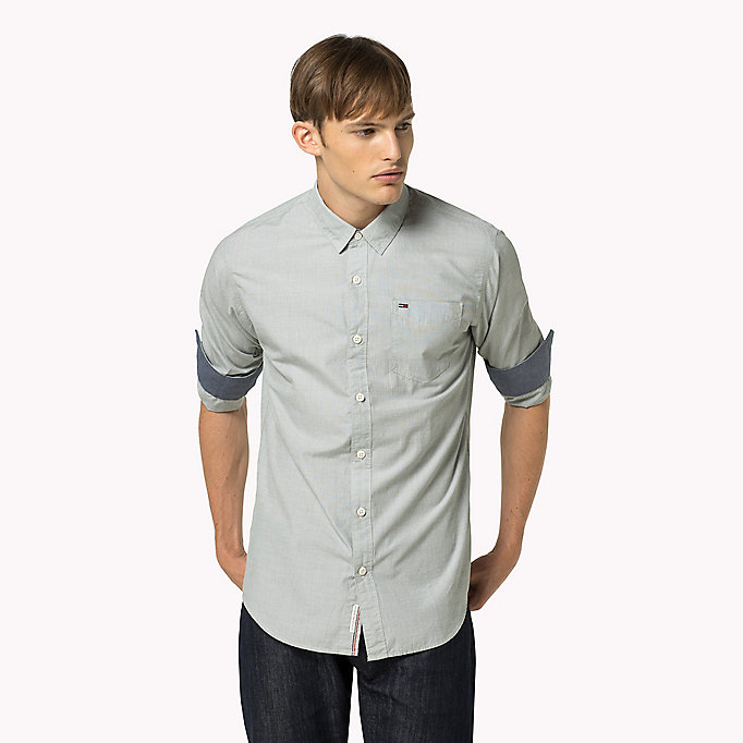 TOMMY JEANS Cotton Regular Fit Shirt - INDIGO BUNTING - TOMMY JEANS Clothing - detail image 1
