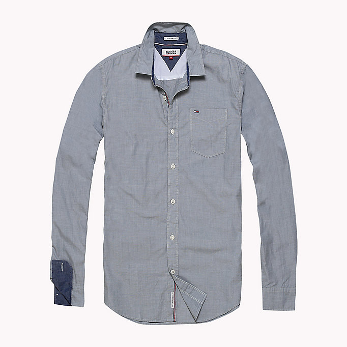 TOMMY JEANS Cotton Regular Fit Shirt - INDIGO BUNTING - TOMMY JEANS Clothing - main image