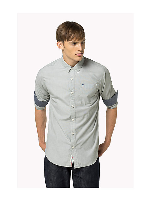 TOMMY JEANS Cotton Regular Fit Shirt - SEA SPRAY - TOMMY JEANS MEN - main image
