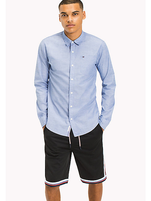 TOMMY JEANS Cotton Regular Fit Shirt - NAUTICAL BLUE - TOMMY JEANS MEN - main image