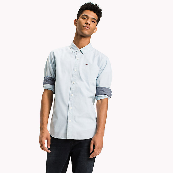 TOMMY JEANS Cotton Regular Fit Shirt - TOMMY BLACK - TOMMY JEANS Clothing - main image