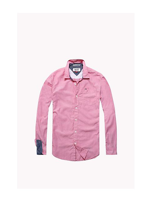 TOMMY JEANS Cotton Regular Fit Shirt - RASPBERRY WINE - TOMMY JEANS MEN - detail image 1