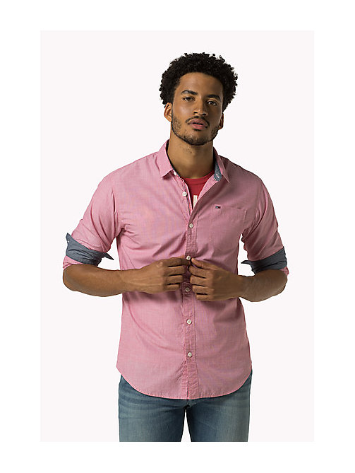 TOMMY JEANS Cotton Regular Fit Shirt - RASPBERRY WINE - TOMMY JEANS MEN - main image