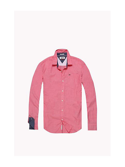 TOMMY JEANS Cotton Regular Fit Shirt - HIGH RISK RED - TOMMY JEANS MEN - detail image 1