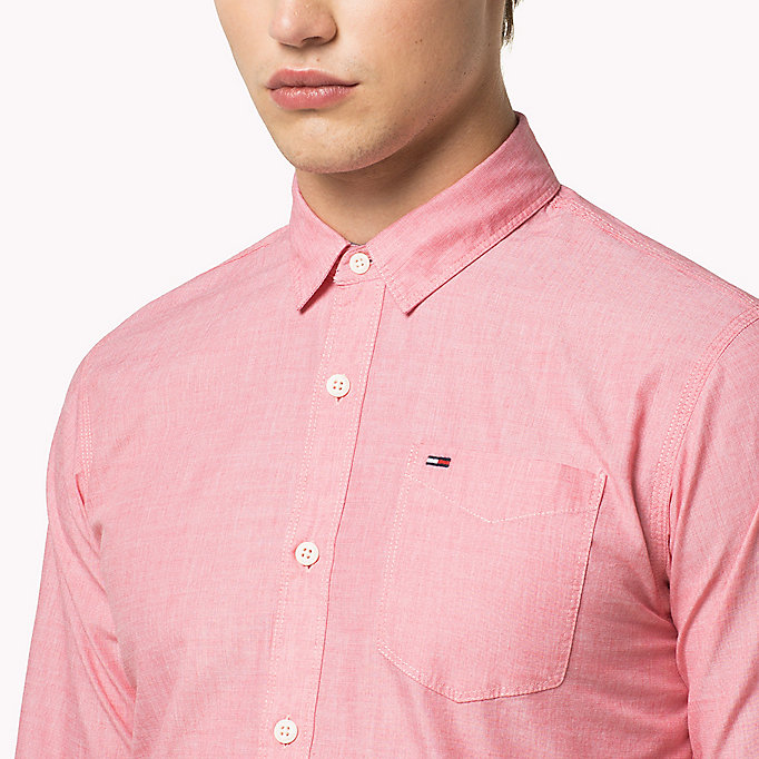 TOMMY JEANS Cotton Regular Fit Shirt - RASPBERRY WINE - TOMMY JEANS Men - detail image 3