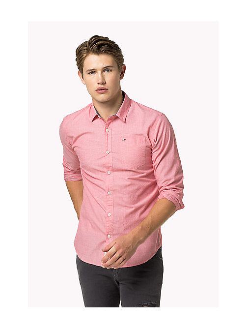 TOMMY JEANS Cotton Regular Fit Shirt - HIGH RISK RED - TOMMY JEANS MEN - main image