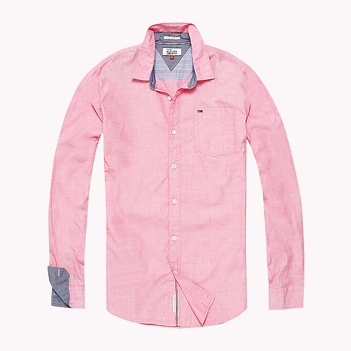 TOMMY JEANS Cotton Regular Fit Shirt - RASPBERRY WINE - TOMMY JEANS Clothing - detail image 1