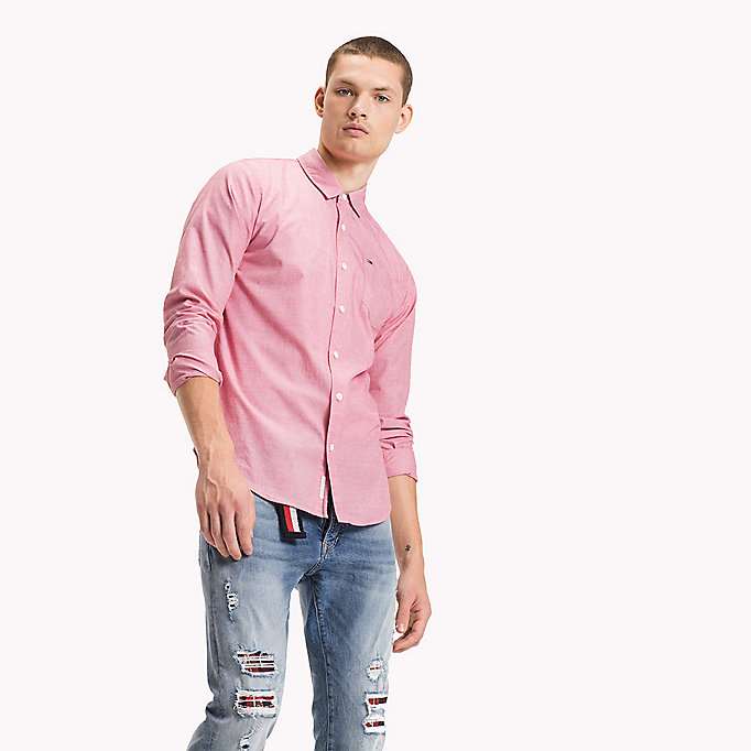 TOMMY JEANS Cotton Regular Fit Shirt - RASPBERRY WINE - TOMMY JEANS Clothing - main image