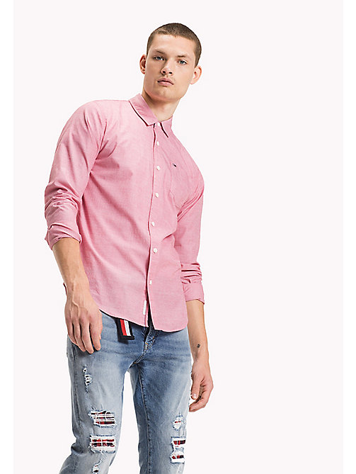 TOMMY JEANS Cotton Regular Fit Shirt - SALSA - TOMMY JEANS MEN - main image