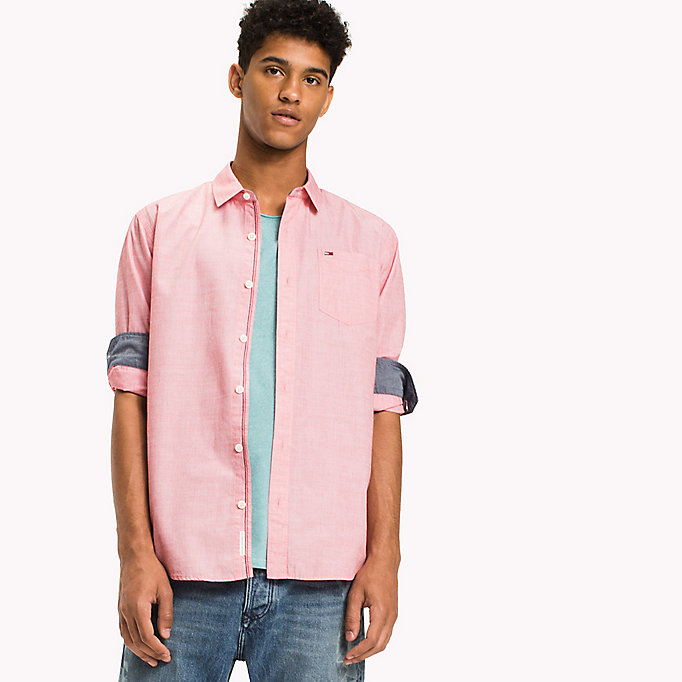 TOMMY JEANS Cotton Regular Fit Shirt - BLUE HORIZON - TOMMY JEANS Men - main image