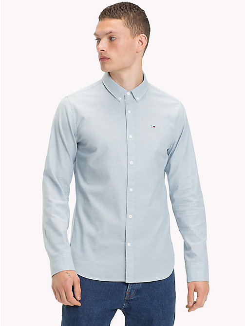 TOMMY JEANS Cotton Blend Chambray Shirt - LIGHT INDIGO - TOMMY JEANS MEN - main image