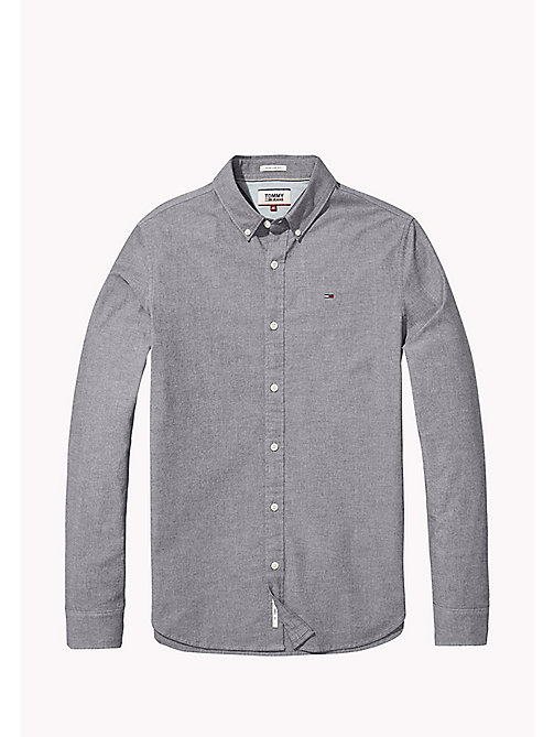 TOMMY JEANS Cotton Blend Chambray Shirt - DARK INDIGO - TOMMY JEANS MEN - detail image 1