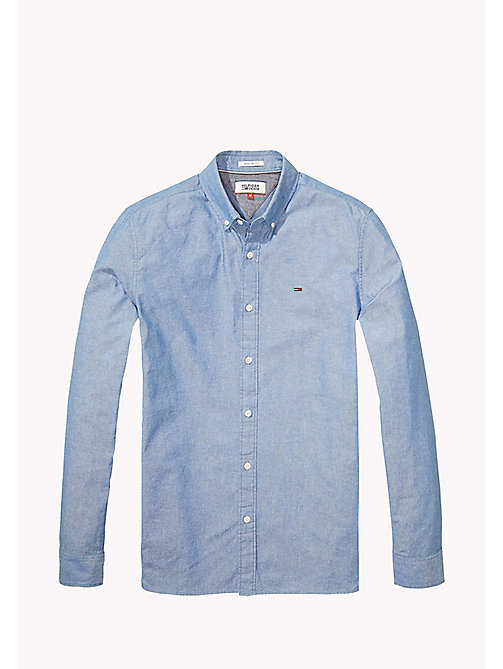 TOMMY JEANS Cotton Blend Chambray Shirt - MID INDIGO - TOMMY JEANS MEN - detail image 1