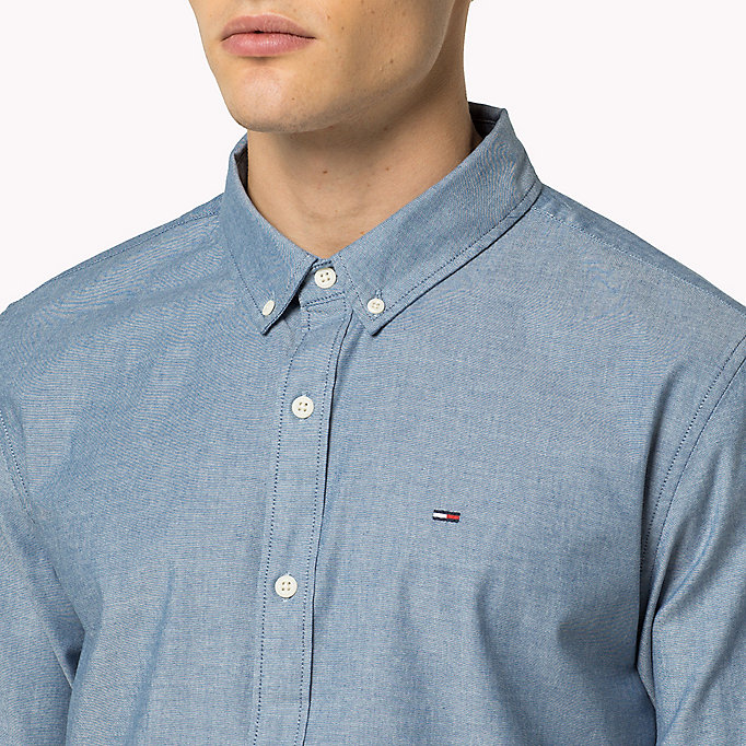 TOMMY JEANS Chambray overhemd van katoenmix - LIGHT INDIGO - TOMMY JEANS Heren - detail image 3