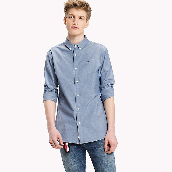 TOMMY JEANS Chambray overhemd van katoenmix - LIGHT INDIGO - TOMMY JEANS Heren - main image