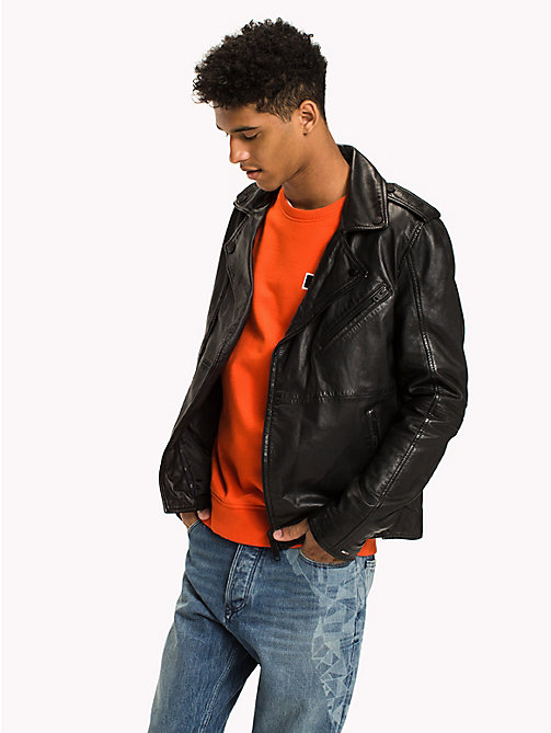 TOMMY JEANS Nappa Leather Biker Jacket - TOMMY BLACK - TOMMY JEANS Coats & Jackets - main image