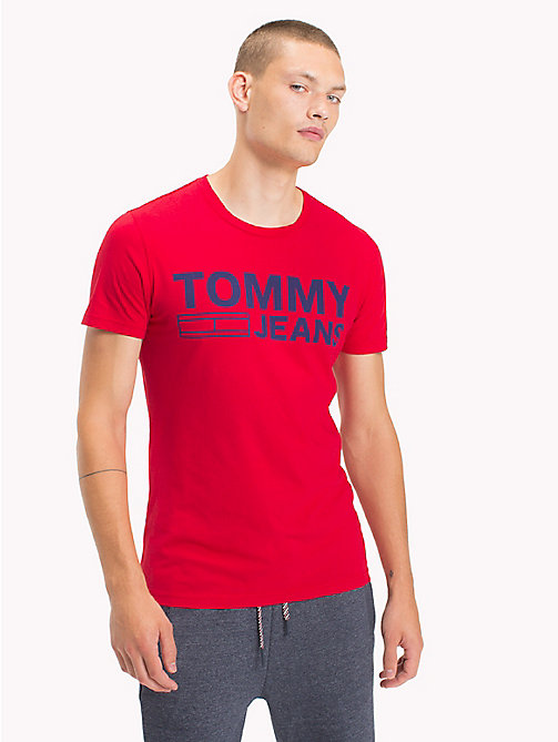 TOMMY JEANS T-shirt in jersey di cotone biologico - RACING RED - TOMMY JEANS T-Shirts - immagine principale