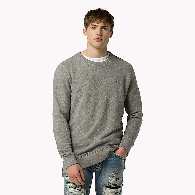 TOMMY JEANS Cotton Fleece Sweatshirt - MIMOSA - TOMMY JEANS Clothing - main image