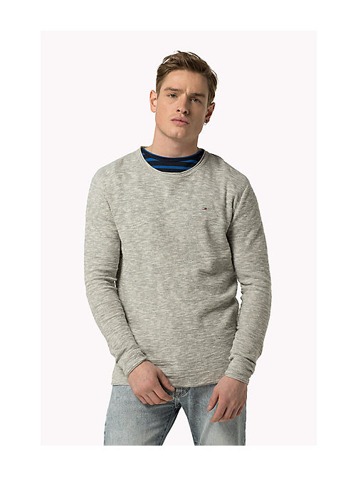 TOMMY JEANS Marble Knit Jumper - LT GREY HTR - TOMMY JEANS Clothing - main image