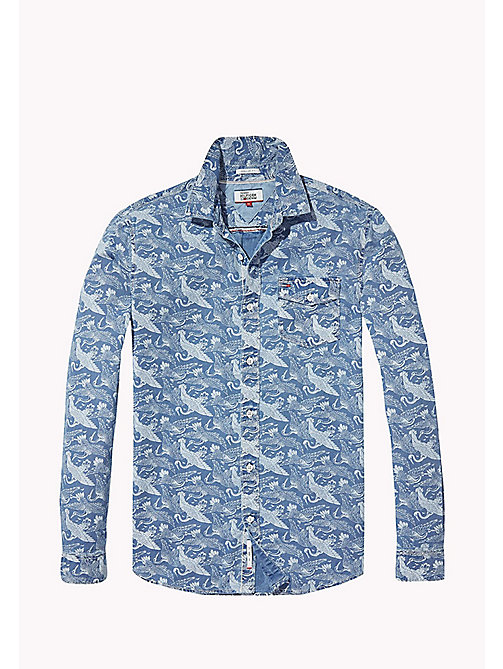 TOMMY JEANS Indigo Printed Shirt - MID INDIGO CRANE PRINT - TOMMY JEANS Shirts - detail image 1