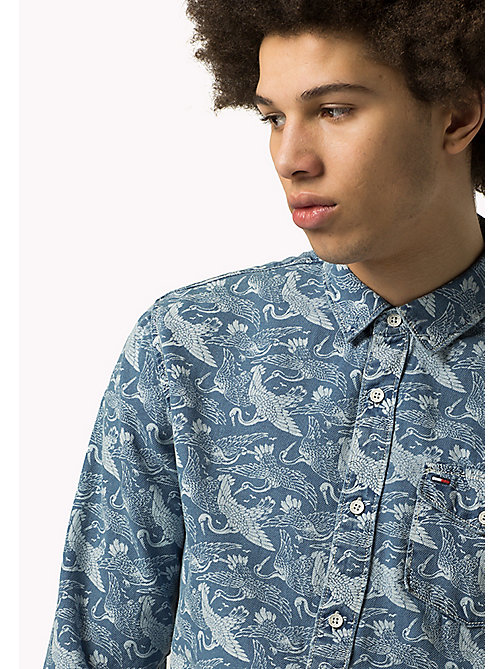 TOMMY JEANS Indigo Printed Shirt - MID INDIGO CRANE PRINT - TOMMY JEANS Shirts - main image