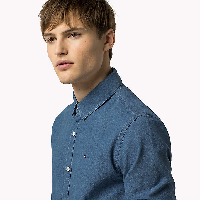 TOMMY JEANS Indigo Dobby Regular Fit Shirt - DARK INDIGO - TOMMY JEANS Clothing - detail image 3