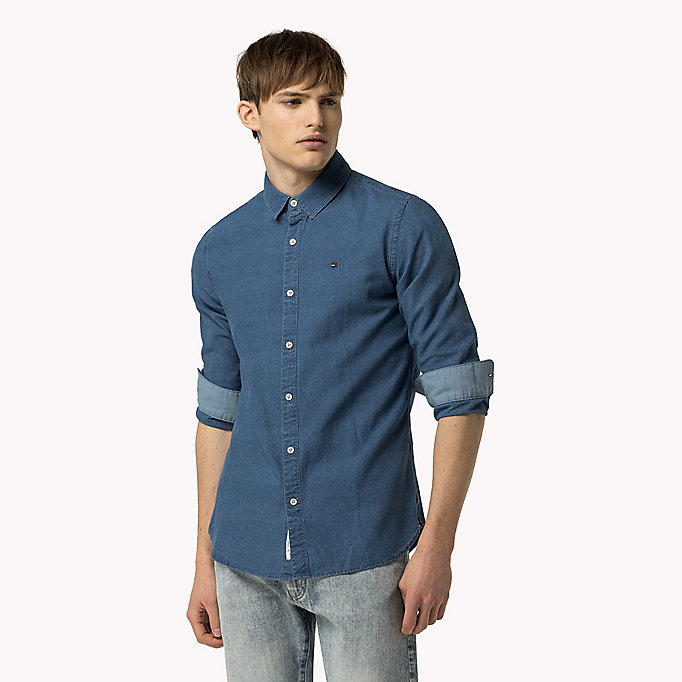 TOMMY JEANS Indigo Dobby Regular Fit Shirt - DARK INDIGO - TOMMY JEANS Clothing - main image