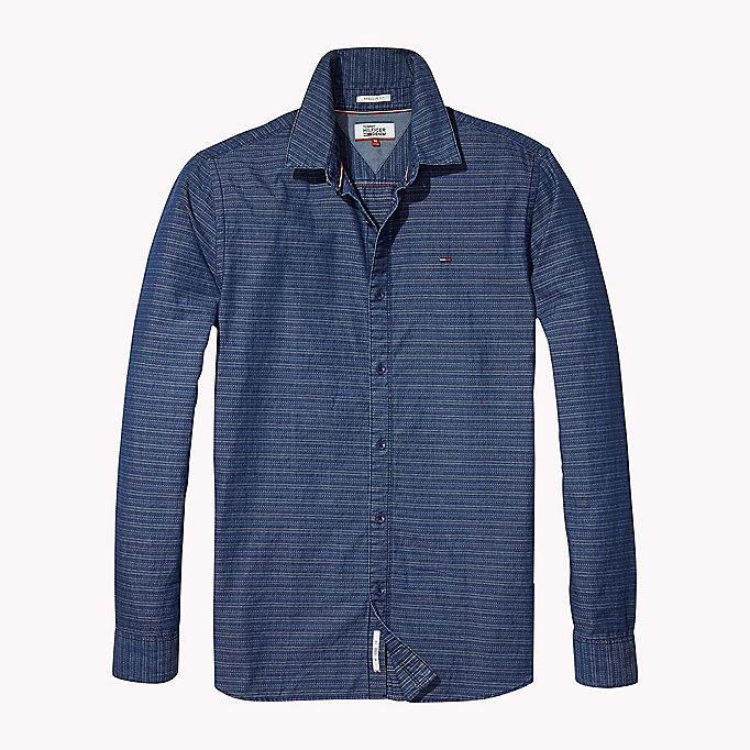 TOMMY JEANS Indigo Dobby Regular Fit Shirt - LIGHT INDIGO - TOMMY JEANS Clothing - detail image 1