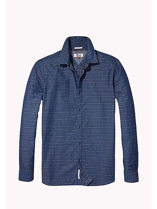 TOMMY JEANS Indigo Dobby Regular Fit Shirt - MID INDIGO - TOMMY JEANS Shirts - detail image 1