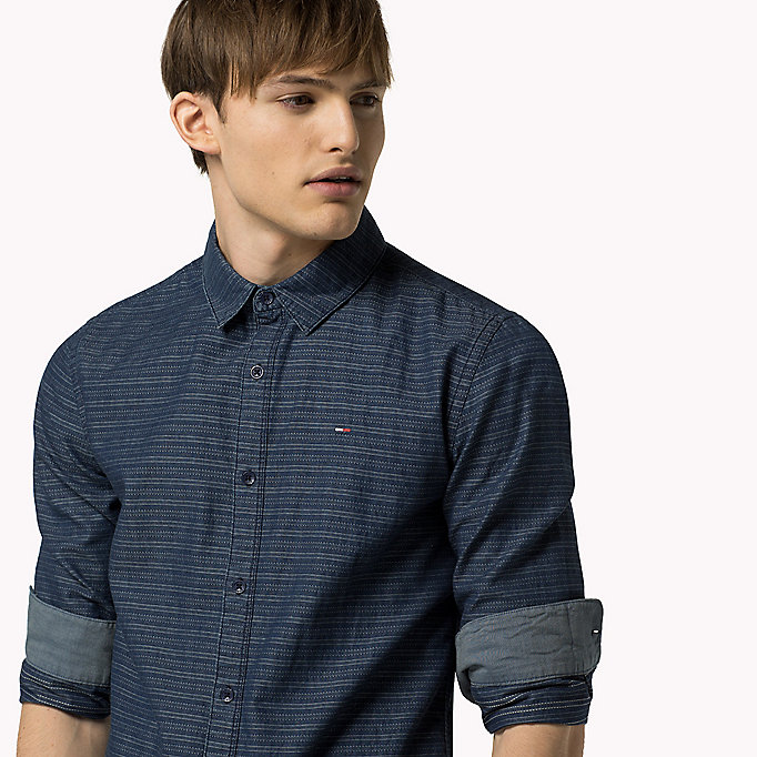 TOMMY JEANS Indigo Dobby Regular Fit Shirt - LIGHT INDIGO - TOMMY JEANS Clothing - detail image 3