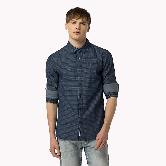TOMMY JEANS Indigo Dobby Regular Fit Shirt - LIGHT INDIGO - TOMMY JEANS Clothing - main image
