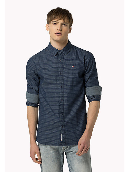 TOMMY JEANS Indigo Dobby Regular Fit Shirt - MID INDIGO - TOMMY JEANS Shirts - main image
