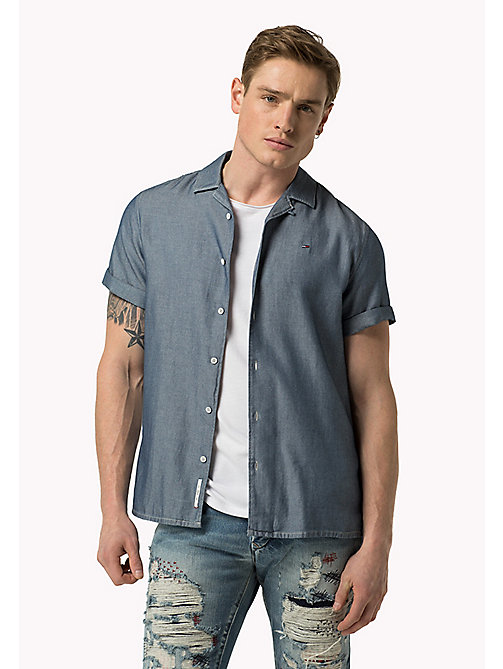 TOMMY JEANS Cotton Regular Fit Shirt - MID INDIGO - TOMMY JEANS Clothing - main image