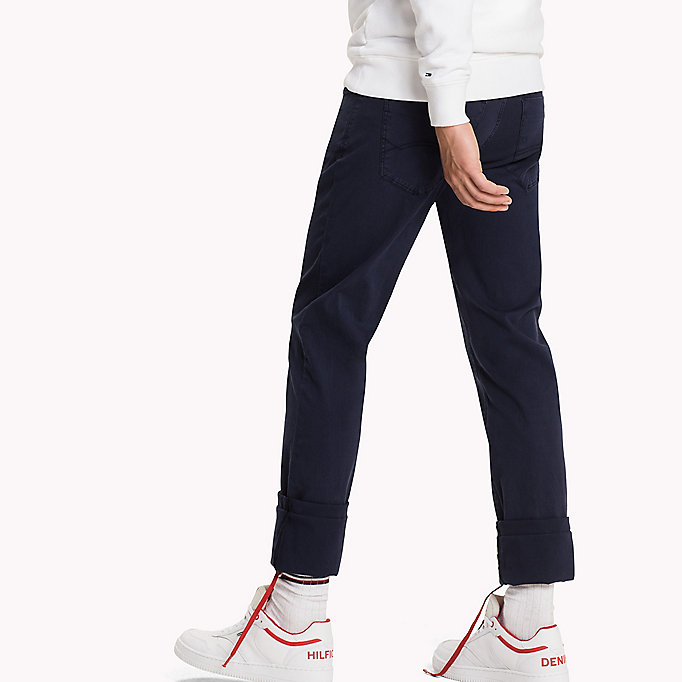 TOMMY JEANS Cotton Dobby Slim Fit Trousers - FOREST NIGHT - TOMMY JEANS Clothing - detail image 2