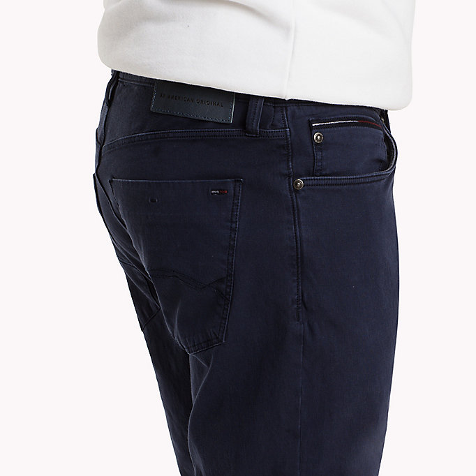 TOMMY JEANS Cotton Dobby Slim Fit Trousers - FOREST NIGHT - TOMMY JEANS Clothing - detail image 3