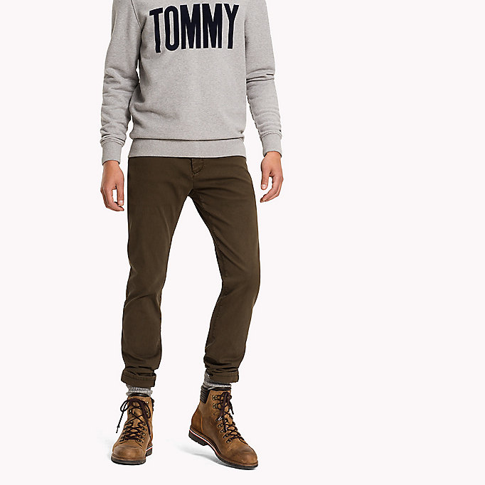 TOMMY JEANS Cotton Dobby Slim Fit Trousers - WINDSOR WINE - TOMMY JEANS Clothing - main image