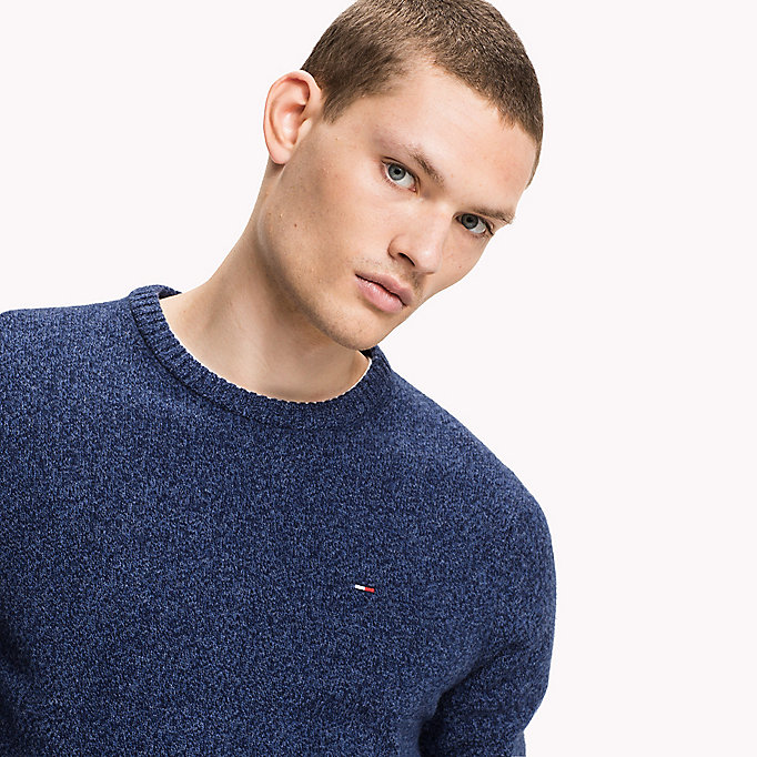 TOMMY JEANS Merino Wool Crew Neck Sweatshirt - WINDSOR WINE - TOMMY JEANS Clothing - detail image 2