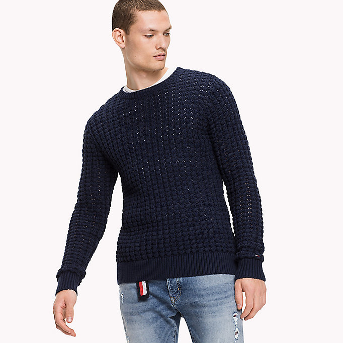 TOMMY JEANS Cotton Crew neck Jumper - FOREST NIGHT - TOMMY JEANS Clothing - main image