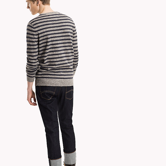 TOMMY JEANS Rundhals-Pullover aus Baumwolle - BLACK IRIS / LT GREY HTR - TOMMY JEANS Kleidung - main image 1