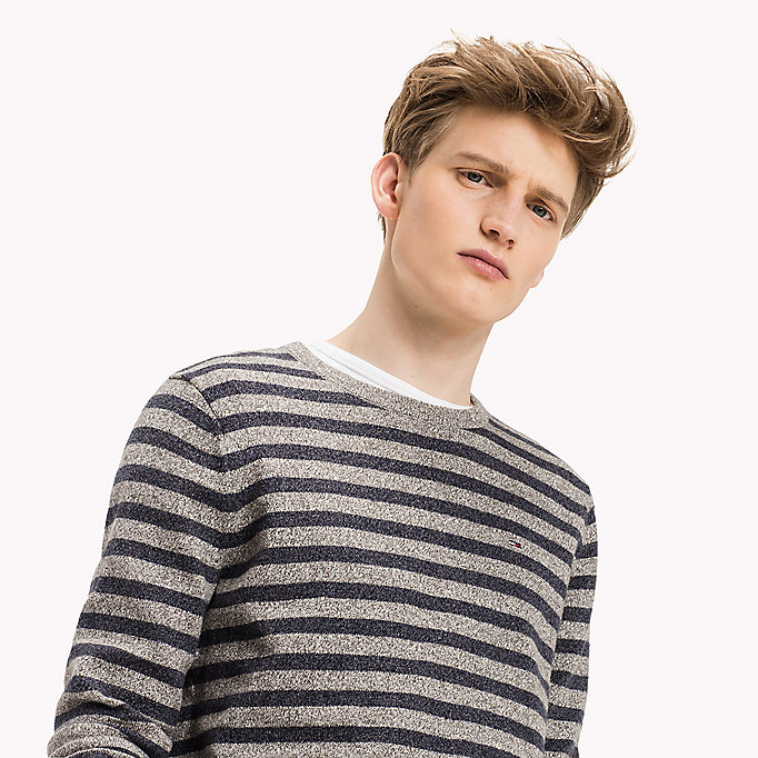 TOMMY JEANS Cotton Crew Neck Jumper - BLACK IRIS / LT GREY HTR - TOMMY JEANS Clothing - detail image 2