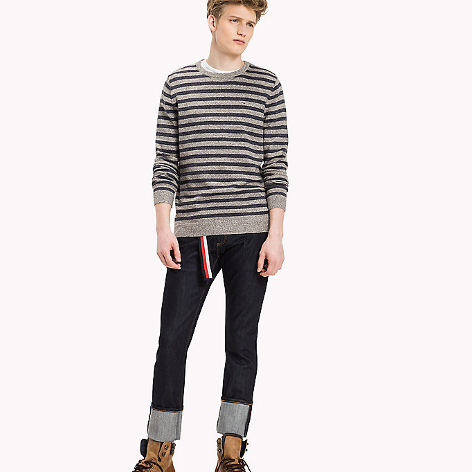 TOMMY JEANS Cotton Crew Neck Jumper - BLACK IRIS / LT GREY HTR - TOMMY JEANS Clothing - main image