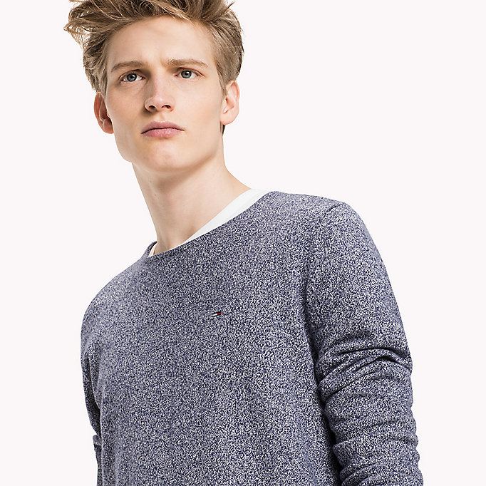 TOMMY JEANS Cotton Crew Neck Jumper - DARK GREY HTR - TOMMY JEANS Clothing - detail image 2