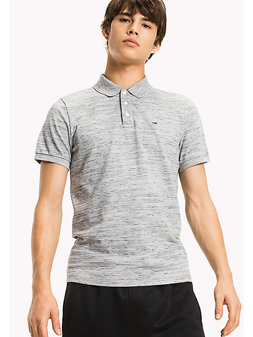 TOMMY JEANS Fitted Polo Shirt - LT GREY HTR - TOMMY JEANS HERREN - main image