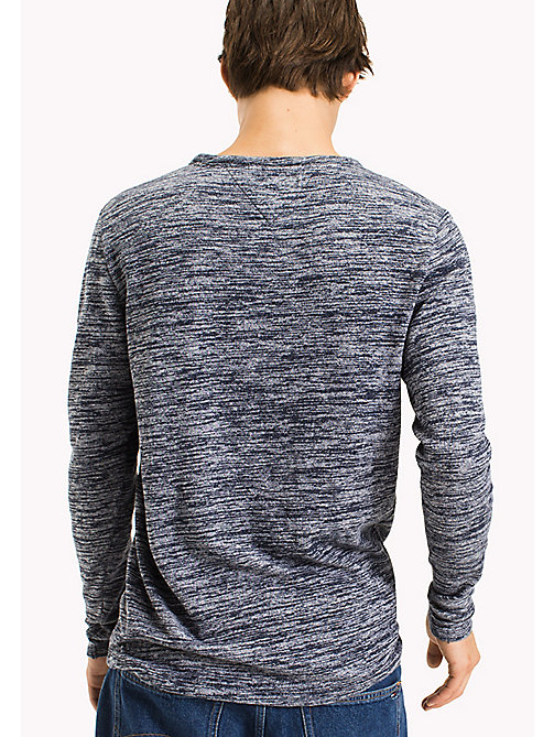 TOMMY JEANS Cotton Jersey Long Sleeved T-Shirt - BLACK IRIS - TOMMY JEANS MEN - detail image 1