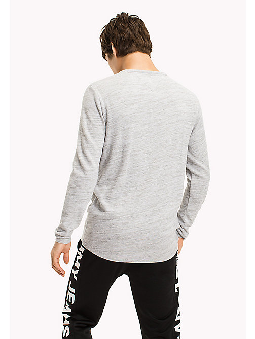 TOMMY JEANS Cotton Jersey Long Sleeved T-Shirt - LT GREY HTR - TOMMY JEANS MEN - detail image 1
