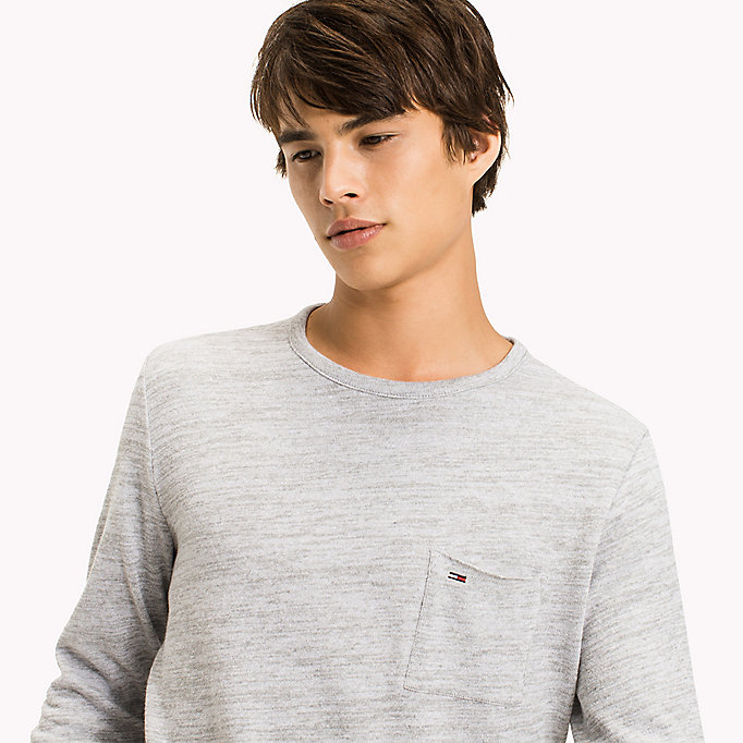 TOMMY JEANS Cotton Jersey Long Sleeved T-Shirt - RACING RED - TOMMY JEANS Men - detail image 2