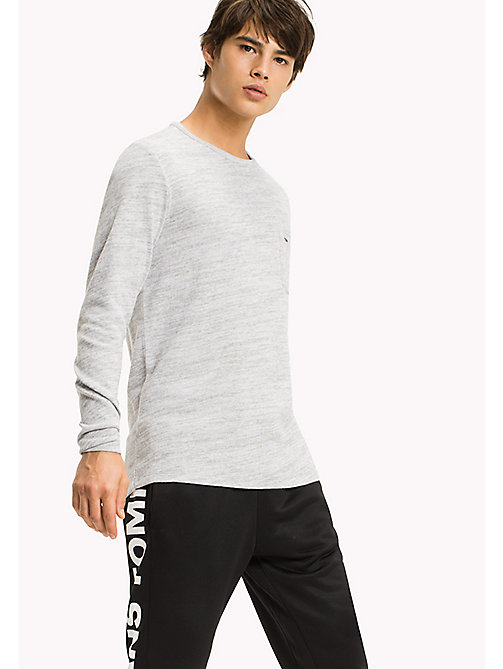 TOMMY JEANS Cotton Jersey Long Sleeved T-Shirt - LT GREY HTR - TOMMY JEANS MEN - main image