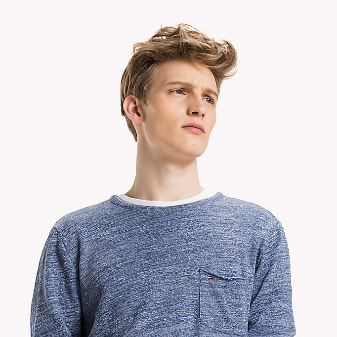 TOMMY JEANS Cotton Jersey Long Sleeved T-Shirt - DK GREY HTR / CLASSIC WHITE - TOMMY JEANS Men - detail image 2