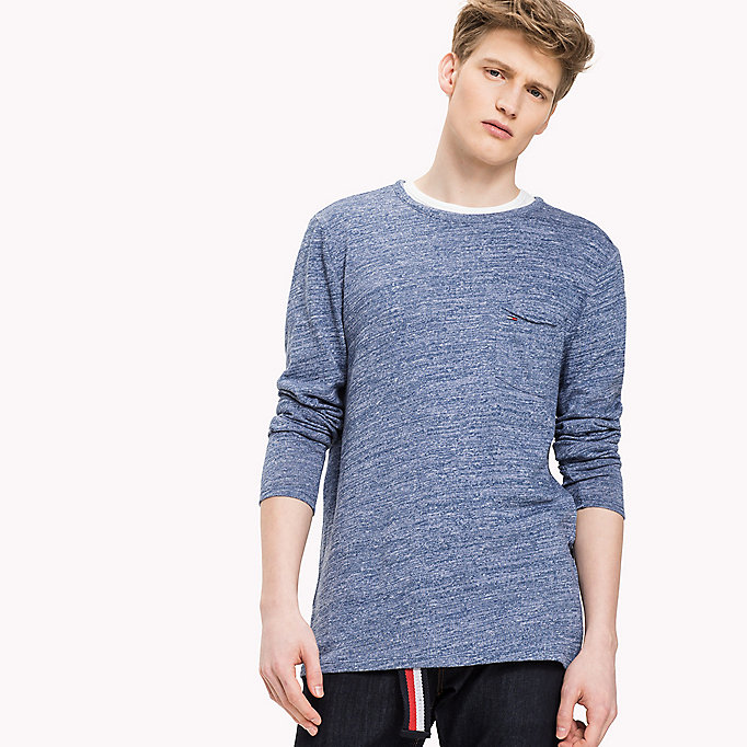 TOMMY JEANS Cotton Jersey Long Sleeved T-Shirt - DK GREY HTR / CLASSIC WHITE - TOMMY JEANS Men - main image