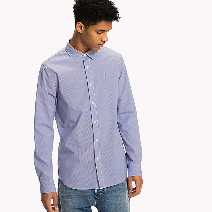 TOMMY JEANS Poplin Stripe Shirt - BRIGHT COBALT MULTI - TOMMY JEANS Clothing - detail image 4